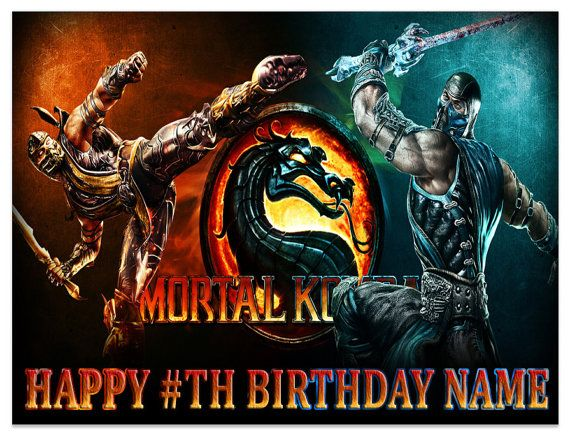 mortal kombat Game Edible Image Cake topper Brithday on Frosting and Icing sheets