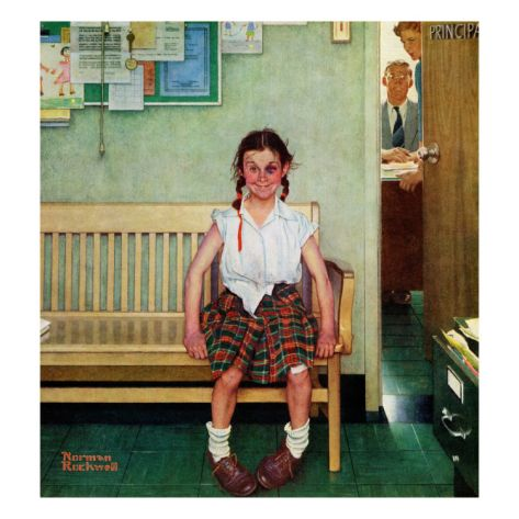 """""""Shiner"""" or """"Outside the Principal's Office"""" (May 23,1953) by master story teller and illustrator, Norman Rockwell.  I love this piece!  This little girl has a date with the principal, but she doesn't seem to mind too much...even with her 'shiner', her face says that she won!  LOL"""