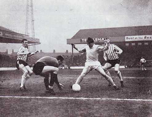Man City 2 Grimsby Town 0 in Feb 1966 at Maine Road. Dave Connor attempts to go around the Grimsby keeper in the FA Cup 4th Round.