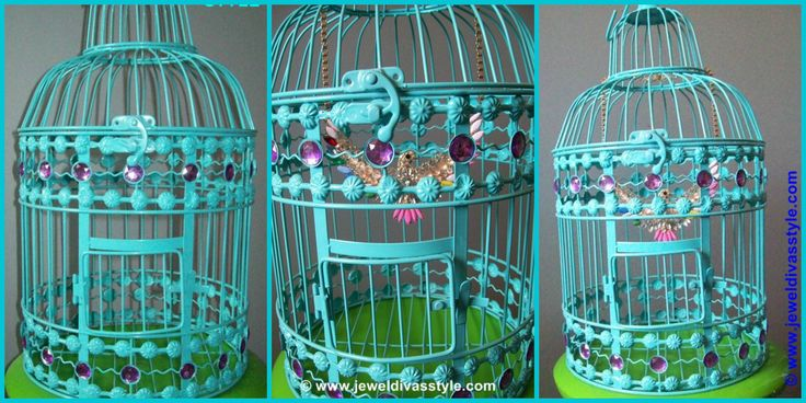 JDS - BLUE BIRDCAGE WITH DIAMANTE BIRD - http://jeweldivasstyle.com/home-decor-style-blue-birdcage-with-a-fake-bird/