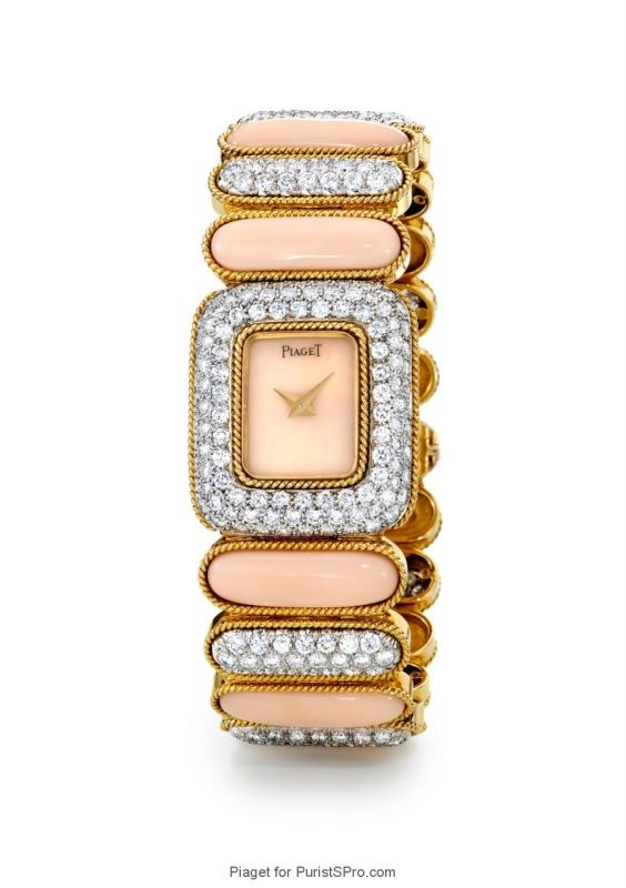Jewelery watch with coral and diamonds cased in yellow and white gold (caliber 4P).
