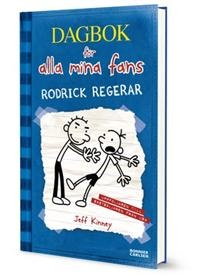 """Dag bok för alla mina fans del 2 Rodrick regerar - Jeff Kinney (tror att vi bara har del 1,3 och 4) """"      """"Det är kul, lätt att identifiera sig med och ganska okrävande läsning. Boken är framställd som en handtextad dagbok på linjerat papper med många roliga streckgubbar som illustrationer."""" Svante Ors, BTJ-häftet"""""""