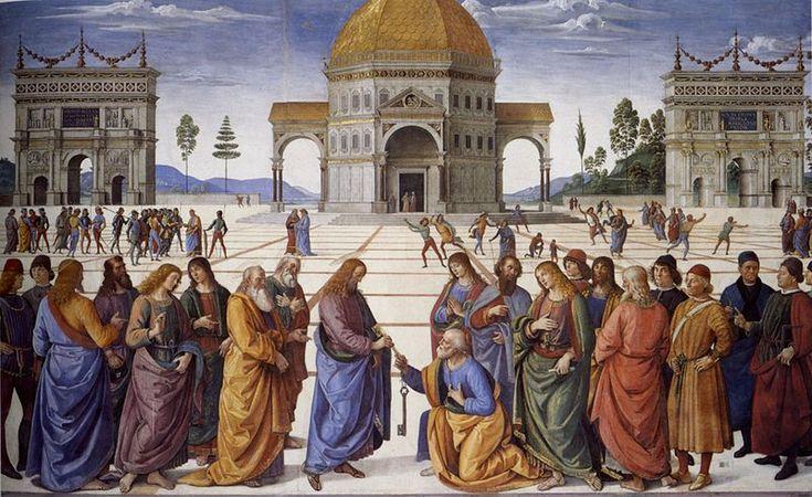 Il Perugino: Dipinti della Cappella Sistina - La consegna delle chiavi a San Pietro