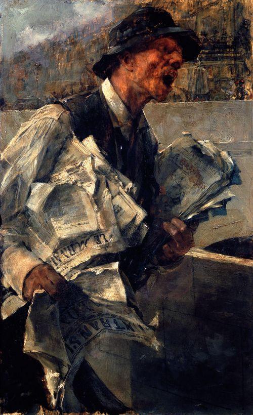 Newspaperman in Paris, 1878 (The newspaper) by Giovanni Boldini (Italian, 1842 -1931) http://www.wikipaintings.org/en/giovanni-boldini/newspaperman-in-paris-the-newspaper-1878