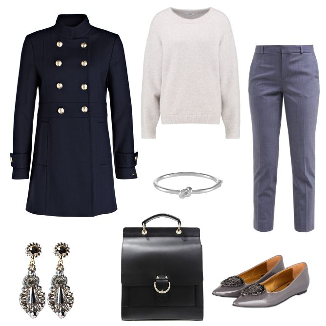 OneOutfitPerDay 2016-10-13 - #ootd #outfit #fashion #oneoutfitperday #fashionblogger #fashionbloggerde #frauenoutfit #herbstoutfit - Frauen Outfit Outfit des Tages Armband Ballerinas Banana Republic Filippa K kate spade new york Mantel mint&berry Ohrringe RAS Stoffhose Strickpullover sweet deluxe Tagesrucksack Tommy Hilfiger