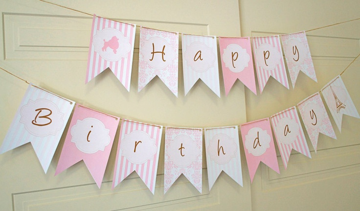 Paris happy birthday banner diy paris party collection for Diy letter banner