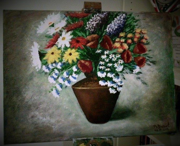 Vaza cu Flori.  30/40cm. Acrilic.