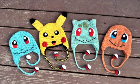 Pokemon Hat Bundle, Squirtle, Pikachu, Bulbasaur, Charmander