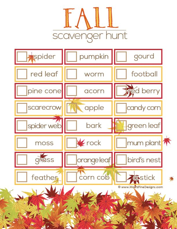 Fall Scavenger Hunt for kids | Free Printable | www.MoritzFineBlogDesigns.com