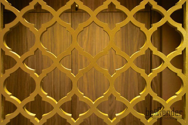 Laser-cut arabesque pattern screen - Barbalexis Oriental Restaurant in Piraeus