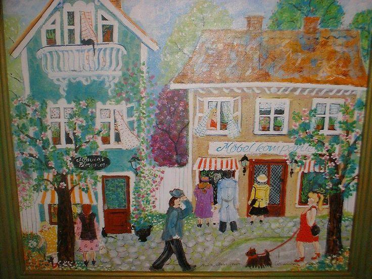 Anita Arvidsson-Åkerblom, konstnär verksam i Bäsinge i Avesta, Dalarna. Naivistiska målningar med glada motiv.