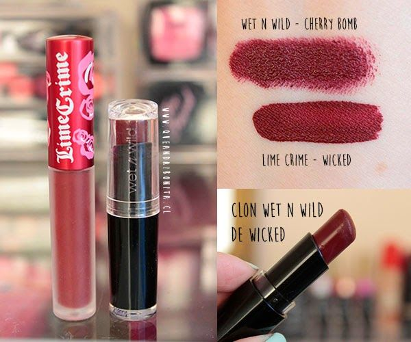 Cheap --- Wet n Wild cherry bomb is a close match in color to LimeCrime's wicked