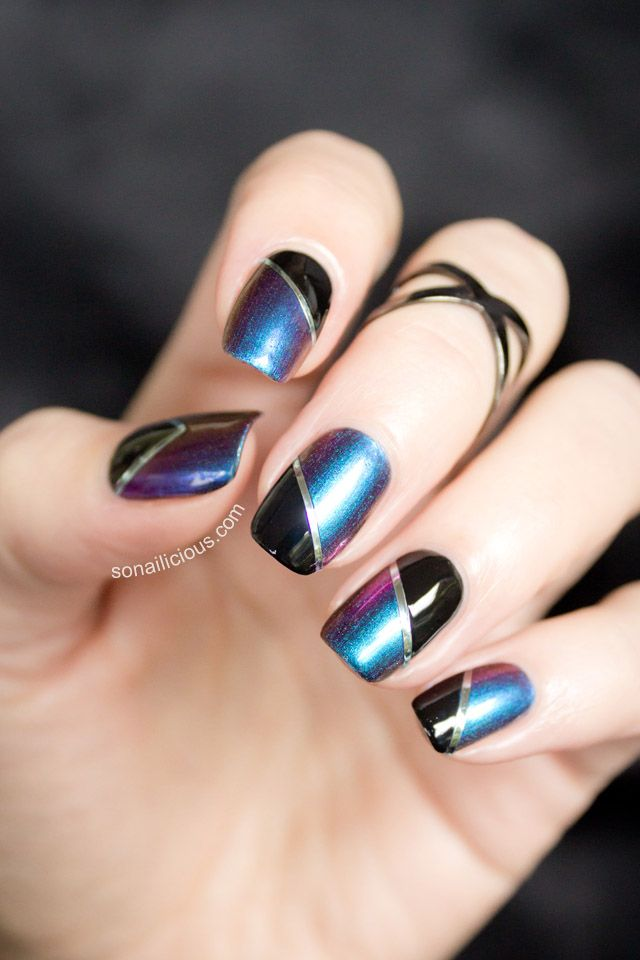Two Toned Nails With Dance Legend Boggs: a simple nail design with a stunning multichrome nail polish