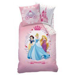 """Parure de lit Princesses Disney """"Diadème"""" Housse de couette réversible + taie en flanelle #chambreprincesse #chambredisney"""