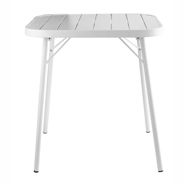 Mesa plegable de jardín de metal blanca L. 70cm Soledad