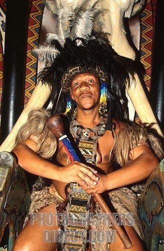 Zulu in traditional garb ,   Los zulúes son un grupo étnico africano de más de diez millones de individuos que habitan principalmente la provincia de KwaZulu-Natal, en Sudáfrica, aunque también se encuentran en pequeñas cantidades en Zimbabue, Zambia y Mozambique.  Su idioma deriva originalmente del Bantú,