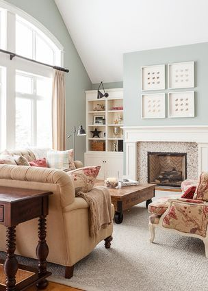 Make over your family room with a touch of BEHR paint in Swiss Coffee cream on the ceiling and Spring Frost on the walls to open and brighten up your space. These colors look great in a seaside-inspired, traditional home.