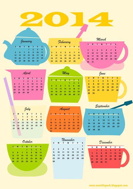 FREE printable 2014 coffee break calendar