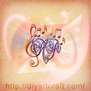 Lettere RA nel cuore con chiave di violino e note