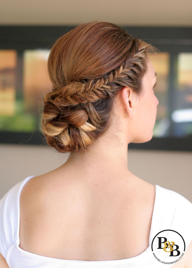 Wedding hair updo with fishtail braid / bridal hair with fishtail braid