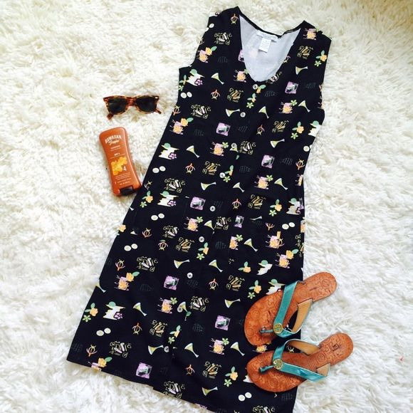 Vintage Black & Neon Beach Dress! Black Beach Dress with Neon Print! Buttons down the front and has two small pockets. No tears or stains! Cotton Couture Dresses