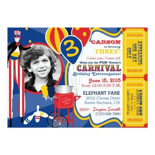 Best Carnival Birthday Party Invitations Images On Pinterest - Birthday invitation cards circus