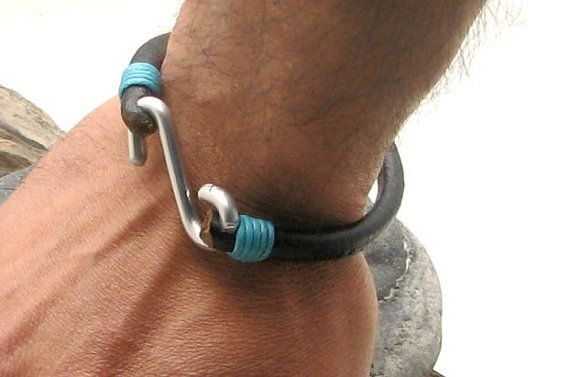"FREE SHIPPING Men's leather  bracelet . Black leather men's bangle bracelet with metal work "" S "" clasp"