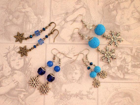 Bronze snowflakes earrings Blue crystal by AnyankasHandiworks