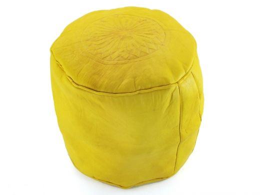 Yellow leather seats from Morocco http://www.etnobazar.pl/shop/etnoswiat/profile/search/ca:pufy