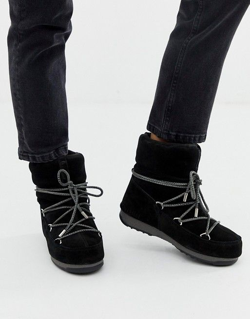 7a43d4ae17c Moon Boot Low Suede Waterproof Boot in Black in 2019 | Shoes | Moon ...