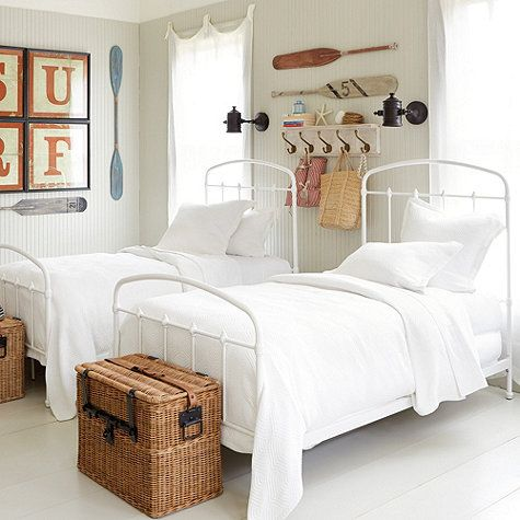 White metal beds  white bedding and painted floor. Best 25  White metal headboard ideas on Pinterest   Farmhouse