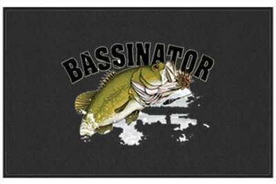 """Bassinator - Freshwater Fish - Black - Door and Welcome Mat by Express Yourself Mats. $24.88. Personalization Available (choose above) - EMAIL TEXT TO SELLER AFTER CHECKOUT. Door Mat Size 27""""x18"""". Made in USA. Great Gift Idea!. Non-Skid Backing. Enjoy the Bassinator design heat pressed on this light-weight, low pile, woven polyester door mat. This decorative welcome mat measures 27 x 18 inches, is 1/8 inch thick and features a non-skid latex coating on the back with blac..."""