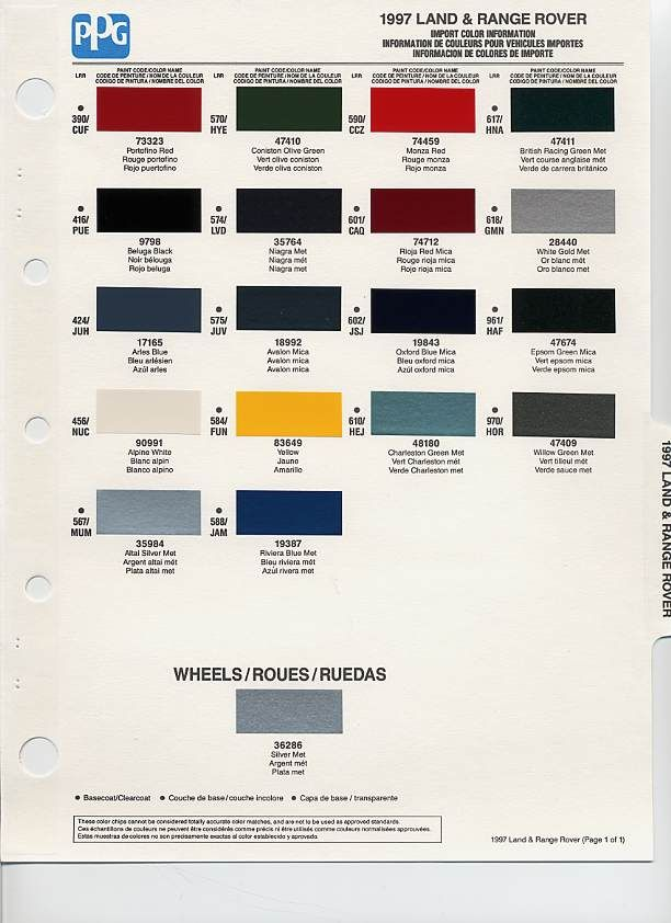 1997 Landrover Color Code Landrover Pinterest Land