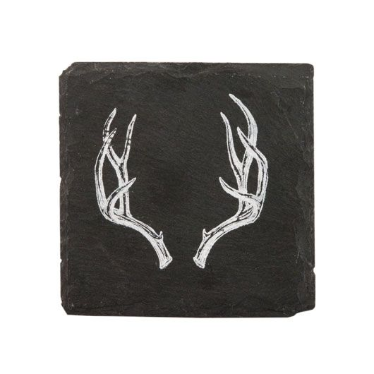 White antlers gracefully adorn the Woodsy Slate Coasters. The velvet backing protects your surfaces from damage, while the food-safe slate allows you and your guests to playfully personalize each coast...  Find the Woodsy Slate Coasters - Set of 4, as seen in the Rustic Fall Tablescape Collection at http://dotandbo.com/collections/rustic-fall-tablescape?utm_source=pinterest&utm_medium=organic&db_sku=TFS0081