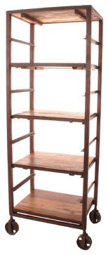 Buttermere Reclaimed Wood Tall Baker's Rack Display Bookcase - eclectic - bookcases cabinets and computer armoires - Kathy Kuo Home