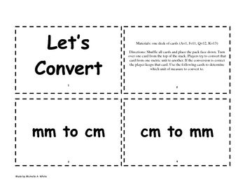 This is a game where students practice converting metric measurements. It is played with cards. ...