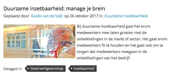 """Mooi artikel van Guido de Valk (auteur Menselijk leiderschap) bij HRzone: """"Duurzame inzetbaarheid: manage je brein. Duurzame inzetbaarheid is een super belangrijk thema voor bedrijven en vooral voor HRM. Hier liggen veel kansen, maar laten we eerlijk zijn: het is best ingewikkeld. In dit artikel geef ik je een aantal handvatten om, aan de hand van kennis van het brein, met duurzame inzetbaarheid aan de slag te gaan.""""  #menselijkleiderschap #guidodevalk #hrzone #hrzonenl #futurouitgevers"""