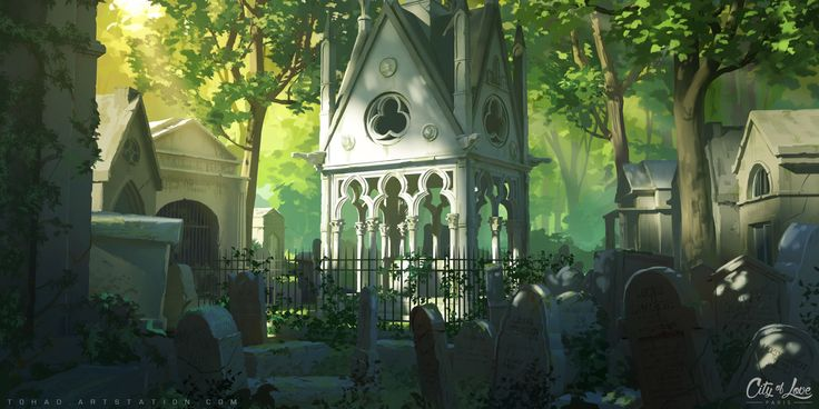 Père Lachaise Cemetery, Sylvain Sarrailh on ArtStation at https://www.artstation.com/artwork/dRRGW