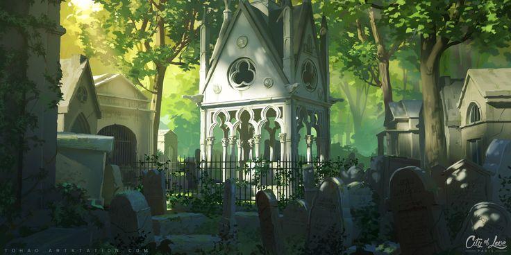 Père Lachaise Cemetery, Sylvain Sarrailh on ArtStation at https://www.artstation.com/artwork/dRRGW