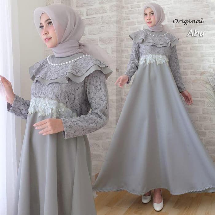 Model Gamis Brokat Kombinasi Polos Remaja Ragam Muslim Model Pakaian Muslim Pakaian Pernikahan Pakaian Pesta