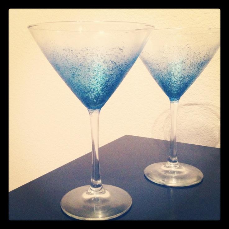 Glitter martini glasses with Martha Stewart glitter paint