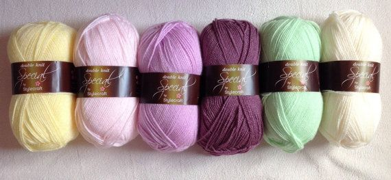 Gorgeous collection of vivid spring shades of lilac and green Stylecraft Special DK 100% acrylic yarn. This pack is for 6x100g balls as pictured.  Washes at 40 degrees and is a beautifully soft yarn, perfect for clothing, blankets and toys. I also do custom packs of yarn, so if you have a colour scheme in mind, drop me a message to email me a description or a picture.  P&P is fixed at £2.99 for one pack but all other packs ordered at the same time will be sent free of charge.  X