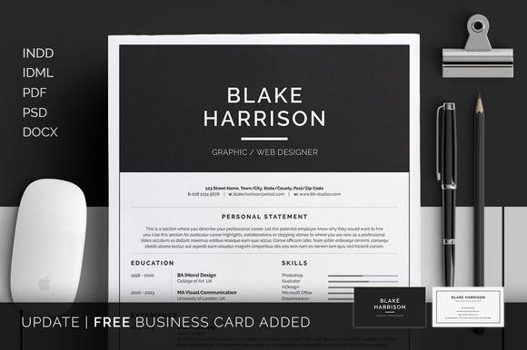 Resume/CV - Blake by bilmaw creative on @creativemarket