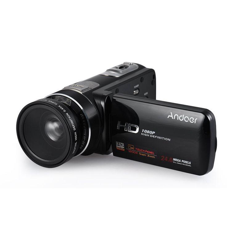 Andoer hdv-z80 1080P Full HD 24 MP Numérique de Vidéo Numérique avec 0.45 x Lentille Granangular de Télécommande 3 Ecran Tactile de Soutien de Lumière LED 10 x Zoom Optique Anti-Shake Détection de Art: Amazon.fr: Photo & Caméscopes