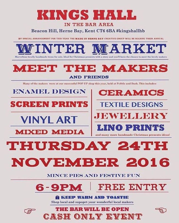 ON TONIGHT - THURSDAY 24TH NOVEMBER 6-9PM THE KINGS HALL HERNE BAY. ------------------ This Thursday make sure to pop down to The Kings Hall Herne Bay for our Made in Herne Bay Winter Market!  We have all our makers work for sale plus we have many of our friends here also! There will be lots of gifts to purchase right in time for Christmas or maybe even for yourself! Just remember that it's 6pm-9pm at the Kings Hall Herne Bay and it will be a cash only event. We had a wonderful time last…