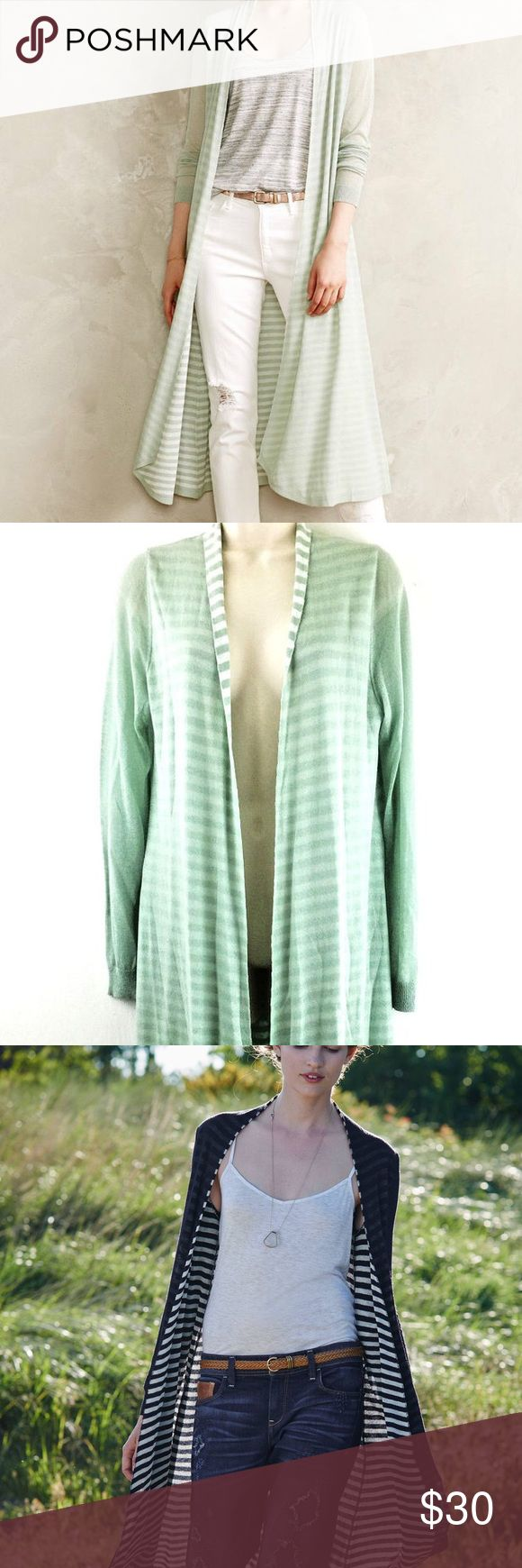"""ANTHROPOLOGIE Eclipsed Stripe Cardigan Mint When it comes to basics, we can't get enough of easy, thoughtful pieces that go beyond the call of casual duty. This transitional cardi is a cut above your standard long sleeve layer. A hint of striped lining and an extended length make this piece a wardrobe go-to. SLIGHT TEAR ON INNER ARM SEE PHOTOS! Can be fixed or Sleeve rolled to hide. Also a few spots on front.  By Ladakh Open front Acrylic, nylon Hand wash Regular: 43.5""""L Anthropologie…"""