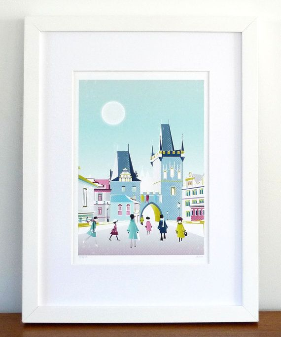 Prague Print, Charles Bridge, Czech Skyline Cityscape, paper print wall art poster, picture home, office, bedroom, kitchen, gift, SPPPCB1