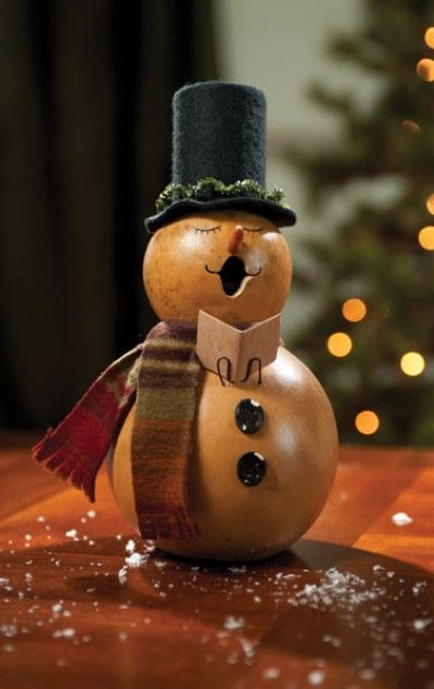 This new snowman gourd family is ready for the chilly winter weather. There are six pieces in this collection.