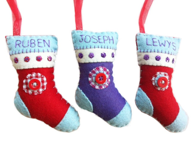 Personalised Christmas Decorations stocking red purple Felt SPECIAL OFFER UK seller. £4.00, via Etsy.