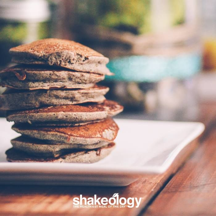 Shakeology Pancakes? Um, yes please.   1 serving Chocolate Shakeology 1 serving Vanilla Shakeology  1 cup Fiber One® pancake mix ¾ cup water   Directions: Mix all ingredients thoroughly in a bowl and cook according to Fiber One package directions. Drizzle with maple syrup to taste. Makes 6 pancakes.  Get Shakeology: http://www.shakeology.com/where-to-buy?TRACKING=SOCIAL_SHK_PI